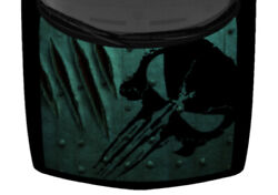 Punisher Claw Marks Rip Dark Teal Metal Truck Hood Wrap Vinyl Car Graphic Decal