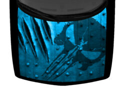 Punisher Ripped Claw Marks Blue Metal Truck Hood Wrap Vinyl Car Graphic Decal