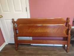 Vtg Antique Cushman Colonial Style Cannonball Full Double Bed Solid Maple Wood