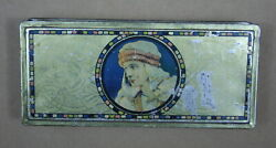 Rudolph Valentino 1920s Antique Beautebox Canco Tin With Henry Clive Artwork