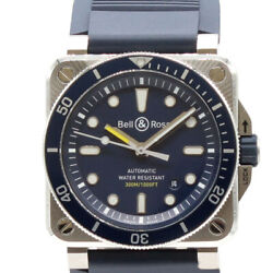 Free Shipping Pre-owned Bell And Ross Br03-92 Daiver Diverand039s Watch Blue Dial