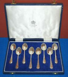 Sterling Silver Halmarked Mappin And Webb Floral Demitasse Spoons W/case 103