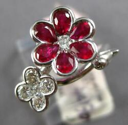 Estate 1.45ct Diamond And Aaa Ruby 18kt White Gold Classic Double Flower Love Ring