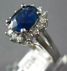 2.29ct Diamond And Aaa Royal Blue Sapphire 14kt White Gold Flower Engagement Ring