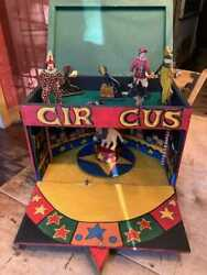 Hand Made Folk Art Vintage Circus Musical Box With Carved Clowns Lion And Master