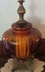 Oversized Retro, Amber Ribbed Glass, Brass Table Lamp Ef And Ef Industries
