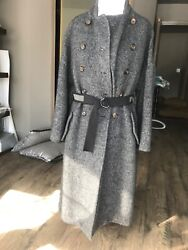 Brunello Cucinelli Fuzzy Mohair And Wool-blend Coat In Charcoal Sz44