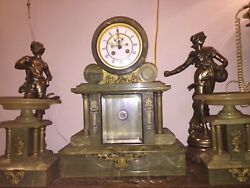 Beautiful French Antique Polished Marble And Bronze Clock And Candelabra Set