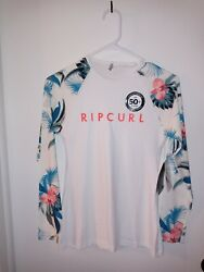 Rip Curl Womenand039s Blanco Bay Relaxed Fit Long Sleeve Rash Guard White Andnbspsize 8 Nwt