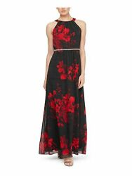 SLNY Womens Red Floral Sleeveless Halter Maxi Fit Flare Formal Dress Size: 10 $8.99