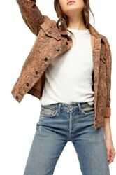 Free People Medium Snake Trucker Womenand039s Jacket- Brown Snake- New With Tags