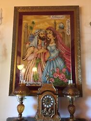 Large Exquisite Framed Pictorial Wool And Silk Rug