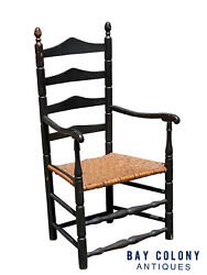 18th C Antique Queen Anne New England Ladder Back Arm Chair W/ Splint Seat