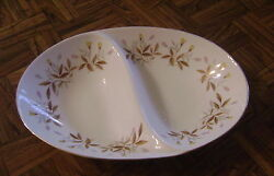 Vintage Sango Autumn Divided Vegetable Dish Pink/yellow Flowers Brown White Gold