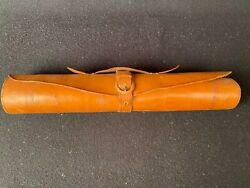 Antique Leather Roll Buckle Strap Document / Map Holder Vintage Scroll Carrier