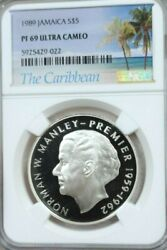 1989 Jamaica Silver 5 Dollars Norman W Manley Ngc Pf 69 Ultra Cameo Top Pop 1