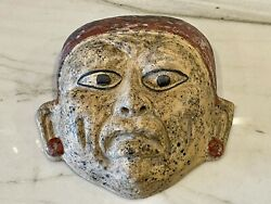 Old Antique Japanese Folk Art Carved Mask - Clay Pottery Asian