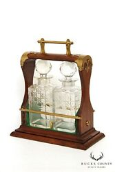 Antique Two Bottle Mahogany And Brass Tantalus