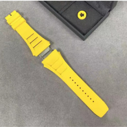 19 Mm Replacement Yellow Wrist Watch Band Strap For Richard Mille Rm11 + Buckle