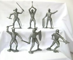 Vintage 1964 Louis Marx Complete Set Of 6 Silver Knights In Armour..