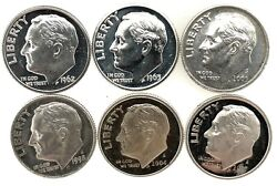 Lot Of 6 Roosevelt Silver Dimes Gem Proof 196219631998s2004s2005s2007s.
