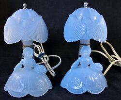 Pair Of Vintage Blue Glass Southern Belle Vanity/bedside Table Lamps