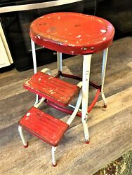 True Vintage Red And White Retro Step Stool / Chair With Sliding Steps Mid Century