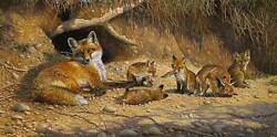 Bonnie Marris Spring Fever Limited Edition Art Print Red Fox Baby Foxes