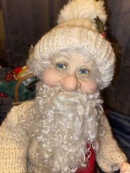 Vintage Santa In Sleigh With Toys Handmade Beautiful Primitive One Of A Kind