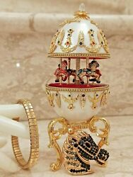 Horse Faberge Egg Carousel Music Birthday Present One Only 24k Gold Real Egg Hmd