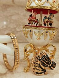 Horse Carousel Faberge Egg Music Graduation Teen Gift One Only 24k Gold Real Egg