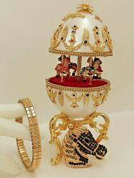 Teenager Son Daughter Music Horse Carousel Faberge Egg One Only 24k Gold Real Eg