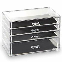 4 Drawer Acrylic Jewelry and Makeup Organizer Clear Cosmetic 4 Drawer $24.29