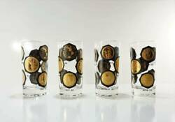 Set Of 4 Vintage High Ball Glasses World Coins Black And Gold By Cera 1960's
