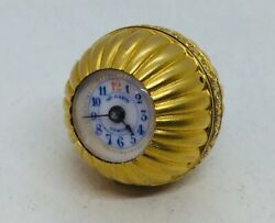 Henry Capt Antique Solid 18k Yellow Manual Wind Unusual Ball Watch Pendant