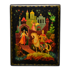 Museum Quality Russian Lacquer Antique Hand Painted Knight Folk Art Large Box