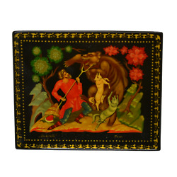 Museum Quality Russian Antique Lacquer Hand Painted Wolf Folk Art Small Box