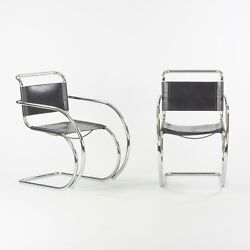 1970s Pair Of Black Mies Van Der Rohe Mr20 Cantilever Dining Chairs Knoll Thonet