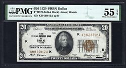 Key Note 1929 20 Frbn ♚♚dallas♚♚ Pmg About Unc 55 Epq