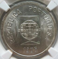 India Portugal Silver 1 Rupia 1935 Ngc Ms 64 Unc