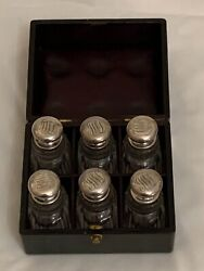 Antique Beautiful Set Of Six And Co Crystal Scent Bottles In A Fitted Leat