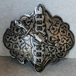 Antique Imperial Russian 84 Silver Carved Enamel Belt Buckle