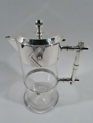 Victorian Decanter - Modern Dresser Style  English Sterling Silver  1884