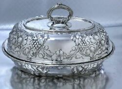 Rare Antique Sterling Silver Repousse Covered Entree Dish Harris And Shafer, Dc