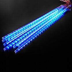 50cm 384 Led Lights Tube Meteor Shower Rain 8 Tube Xmas Snowfall Tree Outdoor