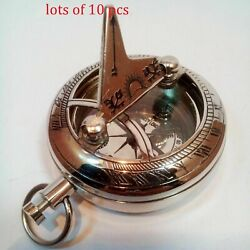 Maritime Collectible Vintage Nickel Brass Push Button Sundial Pocket Compass