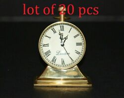 Table Top Vintage Brass Clock Desk Top Antique Collectible Watch Decorative Gift