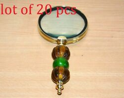 Vintage Brass Color Beads Handle Antique 9 Magnifying Glass Magnifier Good Gift