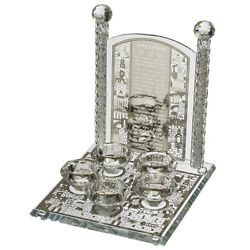 Crystal Candlesticks 5 Candles With Laser Cut Metal Plaque Lighting Hebrew 25cm