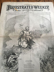 One Known New York Illustrated Weekly Custer Massacre Charge 1876 Newspaper